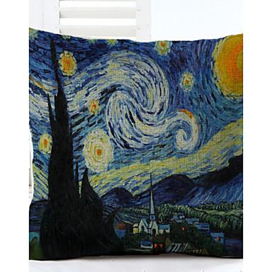 Van Gogh Star Pattern Linen Pillowcase Sofa Home Decor