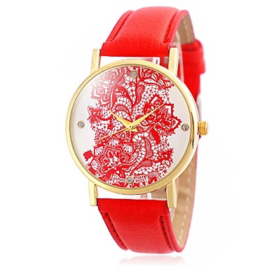 Ladies' Fashion Lacework Diamonds Design Wrist Quartz Watch Leather Strap
