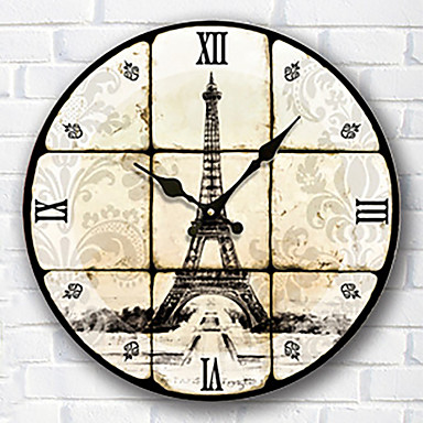 Moderne contemporain famille horloge murale rond bois 34 34 3cm int rieur horloge de 5258691 for Horloge murale bois moderne