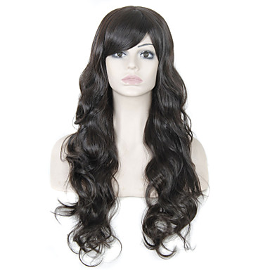 Long Wavy Hair Wig Bangs Dark Brown Color Synthetic Wigs Women