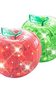 3d krystal æble puslespil med flash (tilfældige farver)