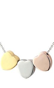 316L rustfrit stål tre farve hjerte halskæde vedhæng kæde for kvinder med gaveæske