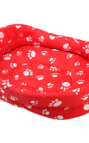 Fortykket Hundens Paw Mønster Pet Bed (Red, XS-XL)