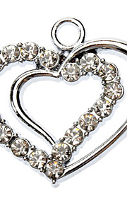 Rhinestone Decorated Double Heart Shape Collar Charm for Dogs Cats