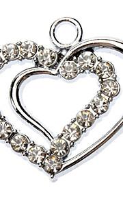 Rhinestone Dekoreret Double Heart Shape Collar Charm til hunde Katte
