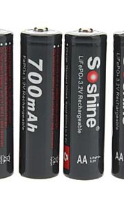 Soshine 14500/aa lifepo4 3.2V 700mAh oplaadbare batterijen w / box - zwart (4 stuks)