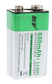 MP oplaadbare 680mAh 9V 6F22 Li-ion batterij voor microfoon / afstandsbediening  en meer (zilver)
