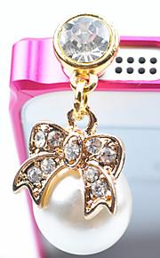 35MM Pearl bowknot Zircon di lustro della perla della lega anti-polvere della spina (colore casuale)