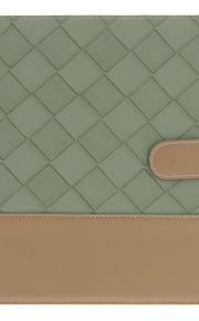 Virksomheten Designet grønne rutene og Brown Bottom Mønster PU Full Body sak med stativ for iPad 2/3/4