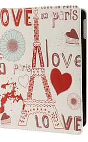 Eiffel Tower og LOVE Pattern PU Fuldt Kropsetui med Stander til iPad Air