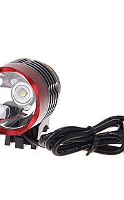 3-Mode Cree XM-L U2 LED Bicycle Flashlight/Headlamp (1000LM, 4x18650, Black+Red)