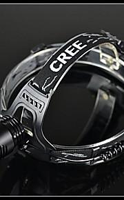 BORUIT A2 3-tilstand Cree XM-L T6 genopladelige LED forlygte (1200LM, 2 * 18.650, Sort)