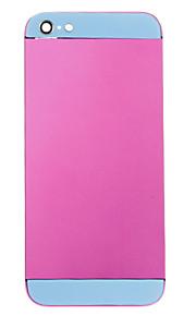 Fuchsia Liga de Metal Voltar Bateria Caixa com vidro azul para iPhone 5