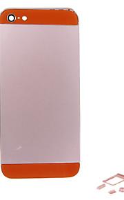 Rosa Liga de Metal Voltar Bateria Caixa com Button e vidro laranja para iPhone 5