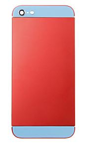 Red Liga de Metal Voltar Bateria Caixa com vidro azul para iPhone 5