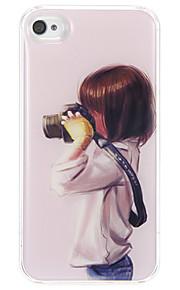 Flickan som är fotografering Mönster Epoxi Hard Case för iPhone 4/4S