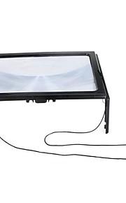 Ultratynd Fuld A4-side Store PVC Magnifier 3X Sammenfoldelig forstørrelsesglas Loupe Håndfri for Læsning med 4 LED lys