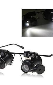 Cabeça Dupla 20x Ampliação Óculos Tipo Binocular Lupa com luz LED para Reparação do Relógio