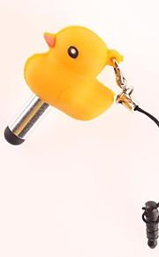 Pouco amarelo pato Capacitive Touch Screen Stylus bonito com 3,5 milímetros anti-poeira plug