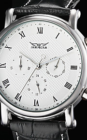 auto-mecânica 6 ponteiros de couro preto faixa de relógio de pulso dos homens