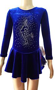 Girl's Blue Velvet Long Sleeves Figure Skating Dress(Assorted Size)