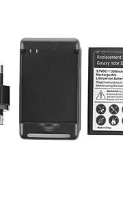 3500mAh batterij met Europlug en USB-oplader voor Samsung Galaxy Note II/N7100