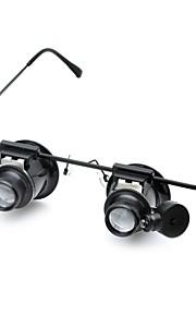 cm202 briller skrive 20x lup med hvidt LED lys (2 x CR1620)