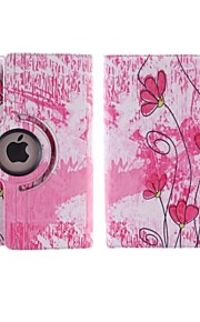 Pink Bottom Small Red Flowers Design 360 Degree Rotating PU Leather Case with Stand for iPad 2/3/4