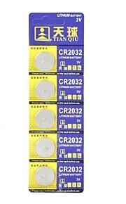 TianQiu 3V Li-ion CR2032 Knoopcelbatterijen 5PCS