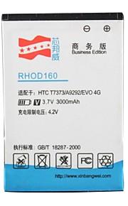 3.7v 3000mAh alta capacidade de bateria de substituição li-ion para HTC T7373 / EVO 4G