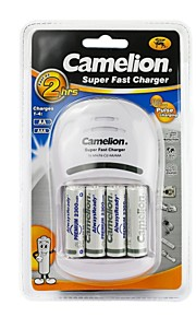 camelion super snellader voor aa / aaa batterij met 4 stuks AlwaysReady 2300mAh Ni-MH AA oplaadbare batterijen