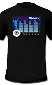 lyd og musik aktiveret spektrum VU-meter el visualizer t-shirt (2 * AAA)