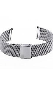 22 milímetros de aço de malha de prata unisex relógio banda cinta fivela de segurança pulseira quente