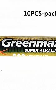 10st GREENMAX 1.5V AAA alkaline batterijen