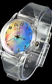 fantasy céu padrão de quartzo transparente banda relógio de pulso analógico das mulheres