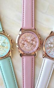 Mulheres Relógio de Moda Quartzo PU Banda Branco Azul Rosa marca