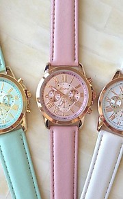 Mulheres Relógio de Moda Quartzo PU Banda Branco Azul Rosa Branco Azul Rosa claro
