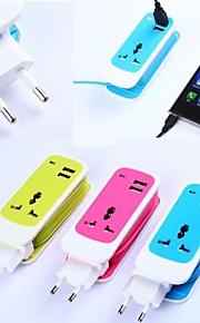 3in1 doppio caricatore da viaggio porta usb adapte zoccolo universale per iPhone / iPad e altri (ac750w, 100 ~ 240V, DC5V 2.1A, spina eu)