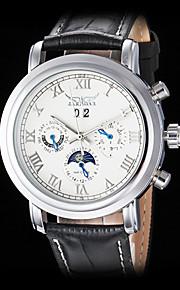 auto-mecânico seis ponteiros roman relógio pulseira de couro numeral pulso dos homens jaragar (cores sortidas)