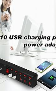 pioppo spina britannico 10 USB di ricarica porte adattatore multi-uso per Samsung / iphone / ipad (5v)