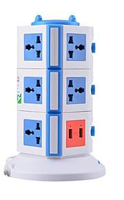 overbelastingsbeschermer 5v / 2.1a 3 verdieping met 11 universele stekkers en 2 usb uk adapter stekkerdozen