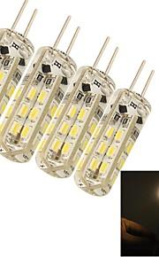 youoklight® de la g4 1.5w / blanc ampoules lampe en cristal de lumière maïs fraîches 24 * SMD3014 80lm chaudes (DC12V)