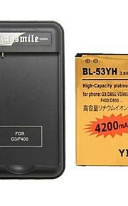 minismile ™ decodificado batería 4200mAh reemplazo con el cargador de pilas especial para lg g3 / bl-53yh / d855 / vs985 / d830