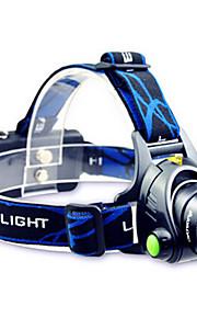 Hovedlygter LED Tilstand 800 Lumens Justerbart Fokus / Vanntett / Genopladelig Cree T6 18650Camping/Vandring/Grotte Udforskning / Cykling