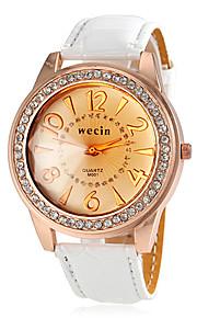 Frauen Gold runden Zifferblatt PU-Band Quarz-Armbanduhr