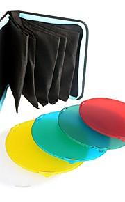 nicefoto sn-518 5 farve gel filter sæt til studio flash strobe lys standard reflektor