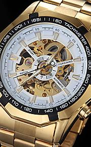 Masculino Relógio de Pulso Automático - da corda automáticamente Gravação Oca Aço Inoxidável Banda Dourada marca- WINNER
