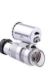 bærbare mini 20x lup mikroskop med to LED-lamper (sølv og sort)