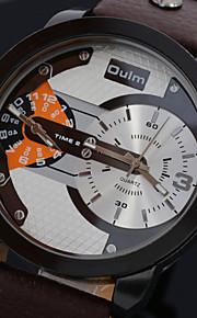 pulseira de couro esporte estilo militar do exército de quartzo dos homens relógios de fuso horário duplo