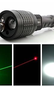 Светодиодные фонари / Ручные фонарики / Лазеры LED / Laser 1 Режим 400 Люмен Фокусировка Прочее 18650 / AAAПоходы/туризм/спелеология /